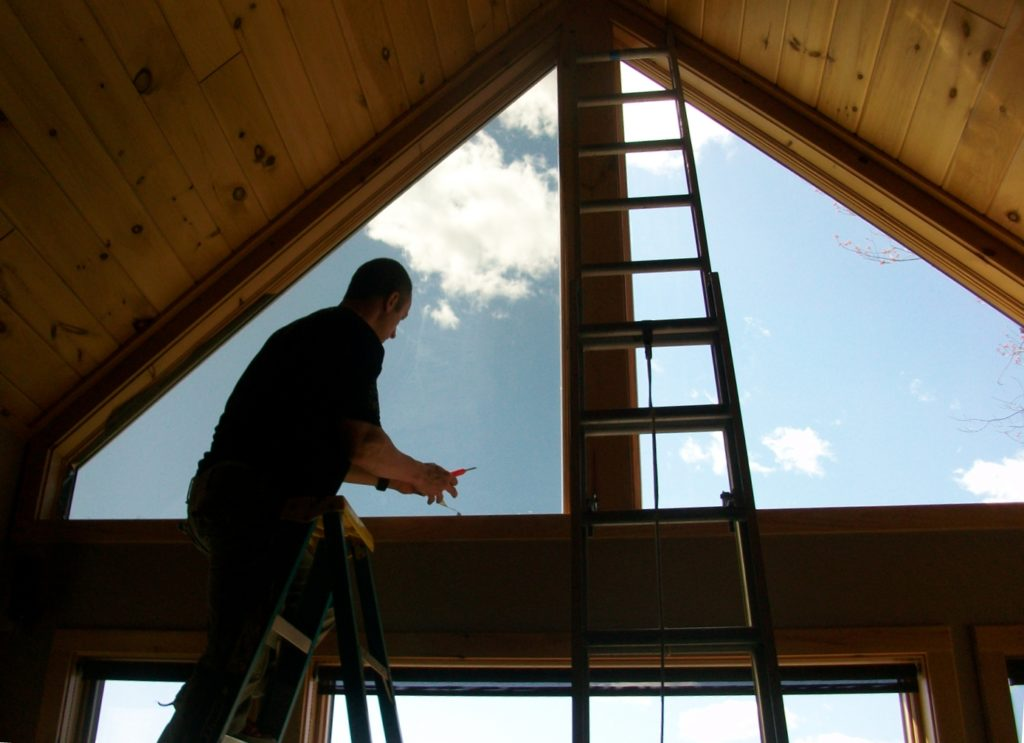 window Tinting from Ladder